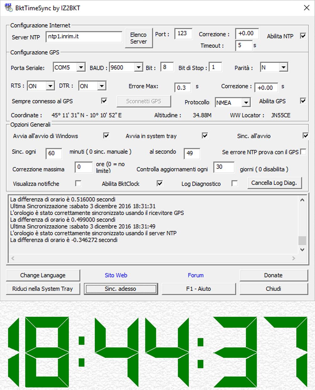 BktTimeSync, sincronizzare l'orario del PC per FT8 | FT8 Digital